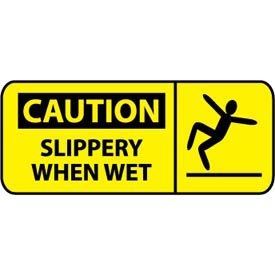 Pictorial OSHA Sign - Vinyl - Caution Slippery When Wet