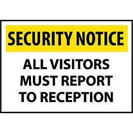 Security Notice Plastic - All Visitors Must Report To Reception