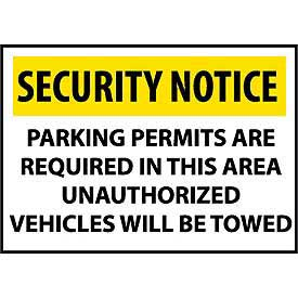 Security Notice Plastic - Parking Permits Are Required In This Area