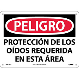 Spanish Aluminum Sign - Peligro Proteccion Do Los Oidos Requerida En Esta Area