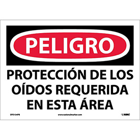 Spanish Vinyl Sign - Peligro Proteccion Do Los Oidos Requerida En Esta Area