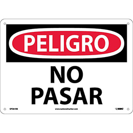 Spanish Plastic Sign - Peligro No Pasar