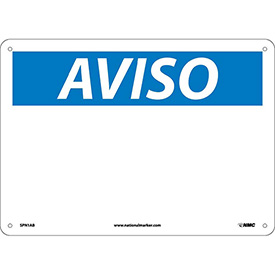 Spanish Aluminum Sign - Aviso Blank