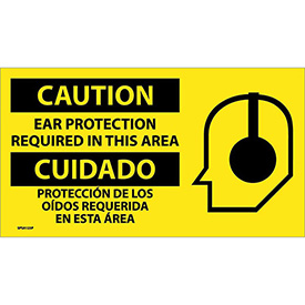 Bilingual Vinyl Sign - Caution Ear Protection Required In This Area