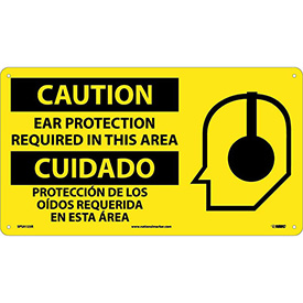 Bilingual Plastic Sign - Caution Ear Protection Required In This Area