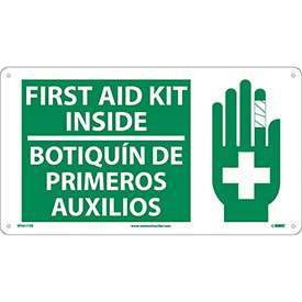 Bilingual Plastic Sign - First Aid Kit Inside