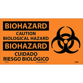 Bilingual Vinyl Sign - Biohazard Caution Biological Hazard
