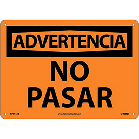 Spanish Aluminum Sign - Advertencia No Pasar