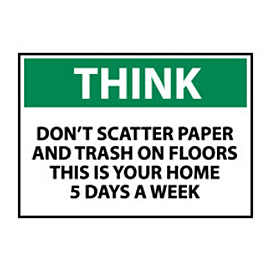 Think Osha 10x14 Plastic - Don't Scatter Paper