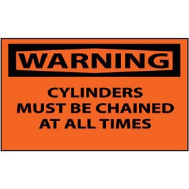 Machine Labels - Warning Cylinders Must Be Chained At All Times