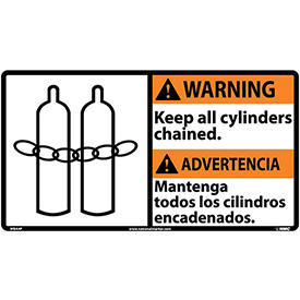 Bilingual Vinyl Sign - Warning Keep All Cylinders Chained