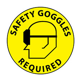 Walk On Floor Sign - Safety Goggles Required