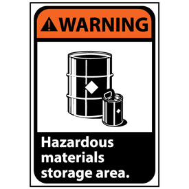 Warning Sign 14x10 Vinyl - Hazardous Materials Storage Area