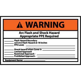 Graphic Machine Labels - Warning Arc Flash And Shock Hazard Appropriate