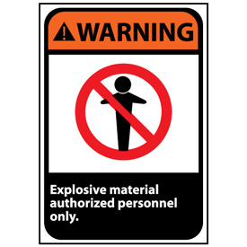 Warning Sign 14x10 Vinyl - Explosive Material
