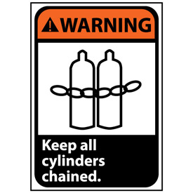 Warning Sign 14x10 Aluminum - Keep All Cylinders Chained