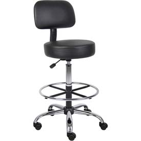 Medical Stool with Backrest and Footring - Vinyl - Black