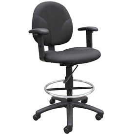 Boss Drafting Stool with Footring and Adjustable Arms -Fabric - Black