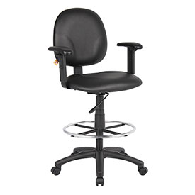Boss Drafting Stool with Arms and Footring - Vinyl - Black