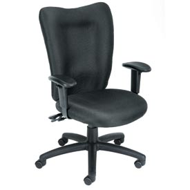 Boss Task Chair with Fixed Arms - Fabric - Mid Back - Burgundy