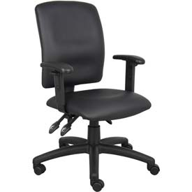 Boss Multifunction Office Chair with Adjustable Arms - Leather - Mid Back - Black