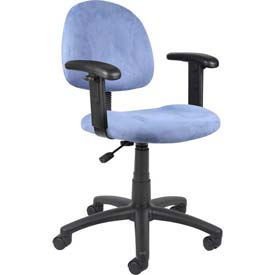Boss Office Chair with Arms - Microfiber - Mid Back - Blue