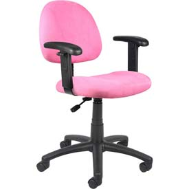 Boss Deluxe Posture Chair with Adjustable Arms - Microfiber - Mid Back - Pink