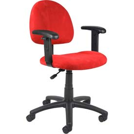 Boss Deluxe Posture Chair with Adjustable Arms - Microfiber - Mid Back - Red