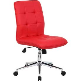 Boss Modern Office Chair - Vinyl - Mid Back - Red