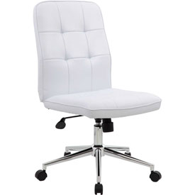 Boss Modern Office Chair - Vinyl - Mid Back - White