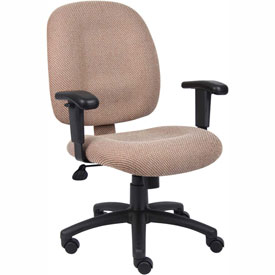 Boss Ergonomic Task Chair with Arms - Fabric - Mid Back - Chestnut