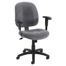 Boss Ergonomic Task Chair with Arms - Fabric - Mid Back - Smoke