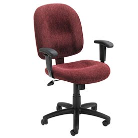 Boss Ergonomic Task Chair with Arms - Fabric - Mid Back - Wine