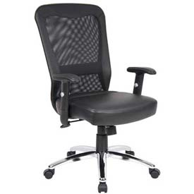 Chairs mesh boss office chair with arms leather mid back black b629801 - Back office site internet ...