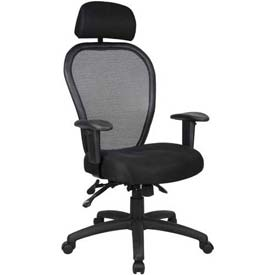 Boss Multifunction Mesh Office Chair with Arms and Headrest - Fabric - Mid Back - Black