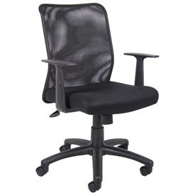 Mesh Task Chair with Arms - Fabric - Mid Back - Black