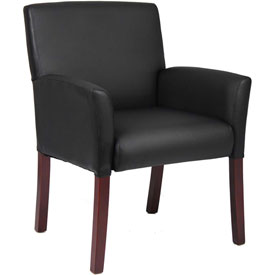 Boss Reception Guest Chair with Arms - Vinyl - Black
