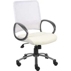 Boss Mesh Back Office Chair - Vinyl - Mid Back - White