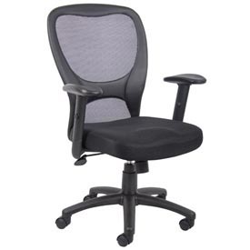 Mesh Task Chair with Arms - Fabric - High Back - Black