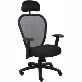 Boss Managers Mesh Office Chair with Arms and Headrest - Fabric - High Back - Black