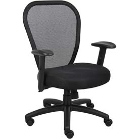 Boss Managers Mesh Office Chair with Arms - Fabric - High Back - Black