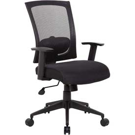 Boss Mesh Back Office Chair with Arms - Fabric - High Back - Black