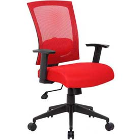Boss Mesh Back Office Chair with Arms - Fabric - High Back - Red