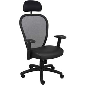 Boss Managers Mesh Office Chair with Arms and Headrest - Leather - High Back - Black