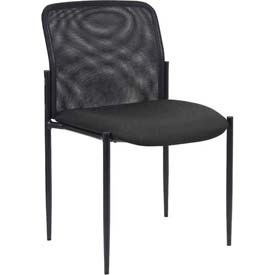 Boss Mesh Reception Guest Chair - Fabric - Mid Back - Black