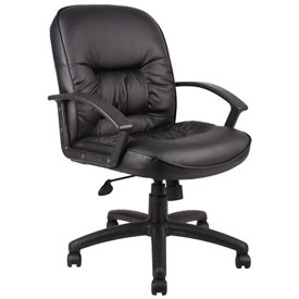 Boss Office Chair with Arms and Spring Tilt - Leather - Mid Back - Black