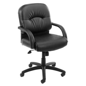 Boss Office Chair with Arms and Knee Tilt - Vinyl - Mid Back - Black