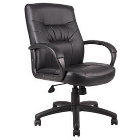 Boss Executive Office Chair with Arms - Leather - Mid Back - Black