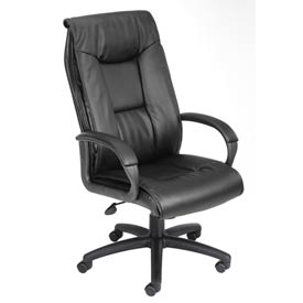 Boss Executive Office Chair with Arms and Knee Tile - Leather - High Back - Black