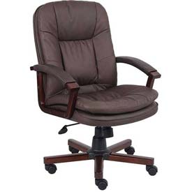 Boss Executive Office Chair - Leather - Mid Back - Brown